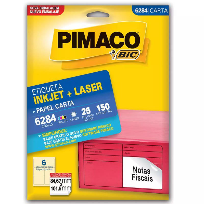 Etiqueta Pimaco Laser 150 Un 84.67X101.6Mm 6284 00473