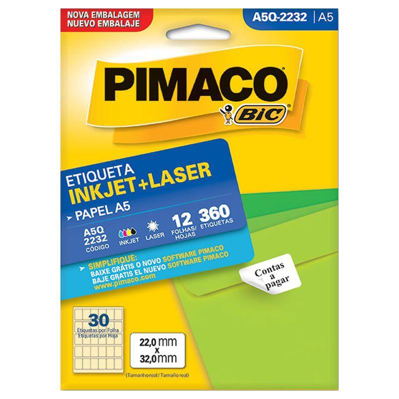 Etiqueta Pimaco Laser 360 Un 12 Fls 22X32Mm A5Q-2232 02192