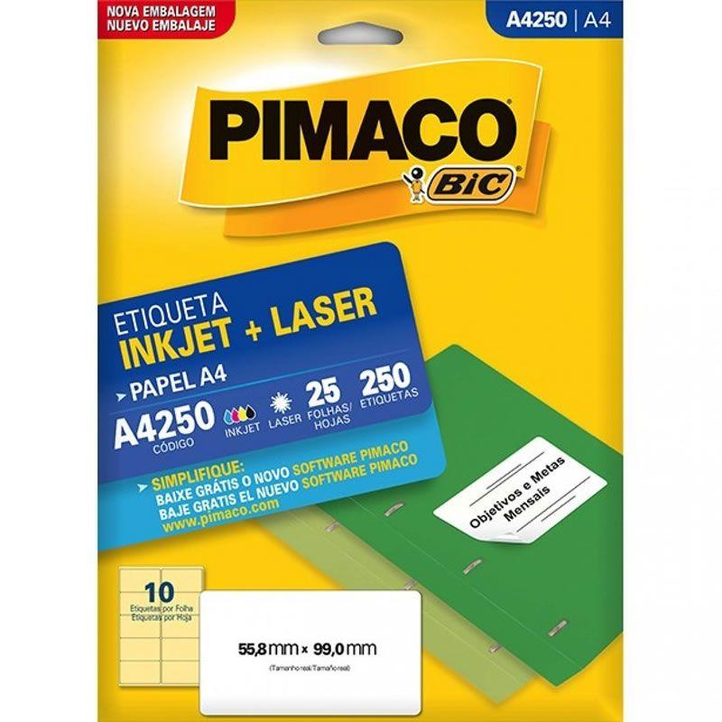 Etiqueta Pimaco Laser 55,8X99Mm Com 250 Un A4250 02172
