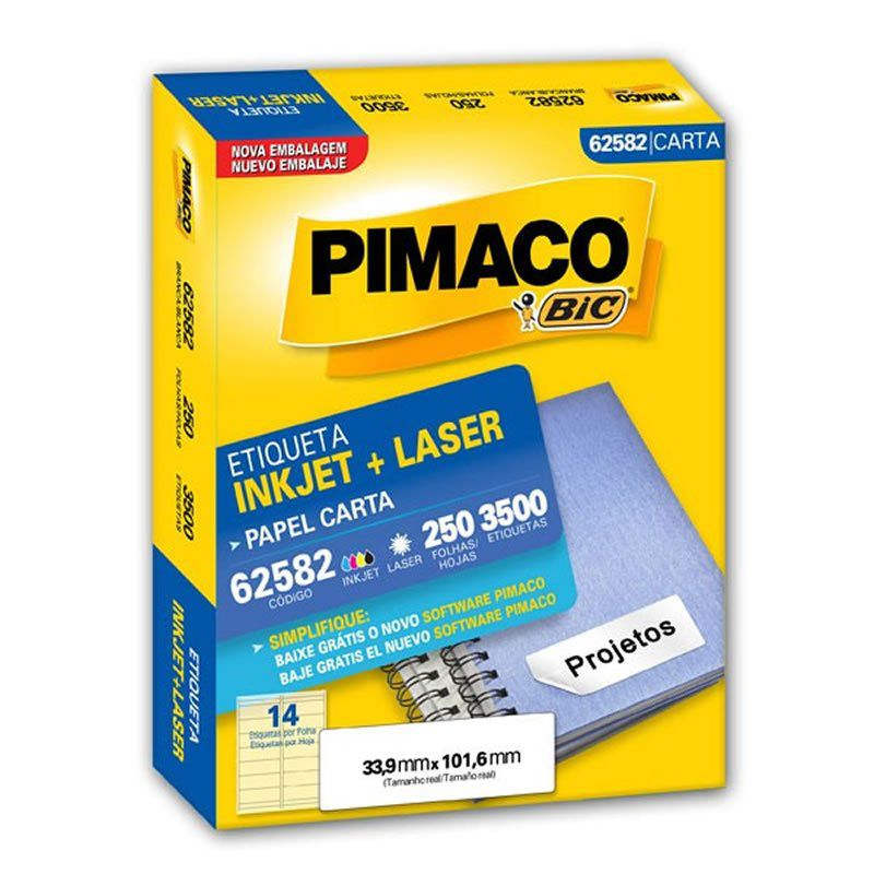 Etiqueta Pimaco Laser Com 3500 Un 33.9X101.6Mm 62582 01276