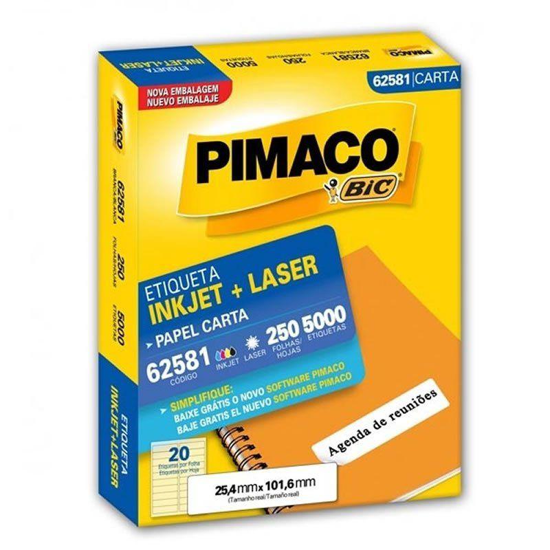 Etiqueta Pimaco Laser Com 5000 Un 25.4X101.6Mm 62581 02150