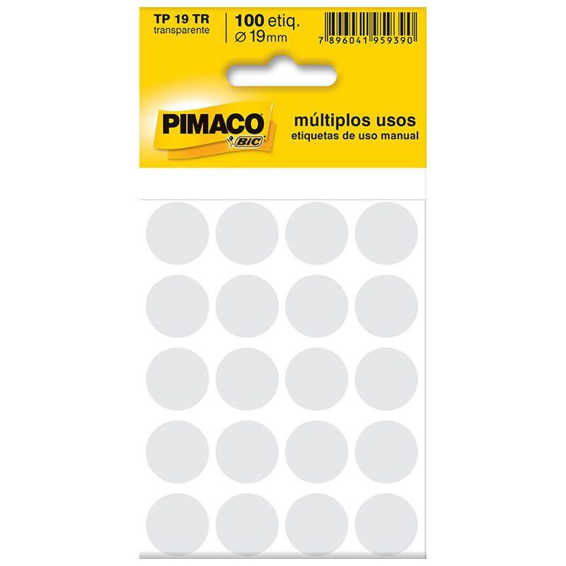 Etiqueta Pimaco Tp 19 Tr Transparente Redonda 14658