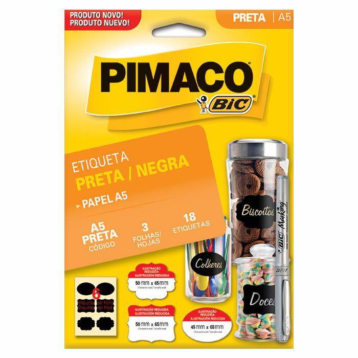 Etiqueta Preta 3 Fls com 18 Un. 50X65Mm A5. 935255 Pimaco 22647