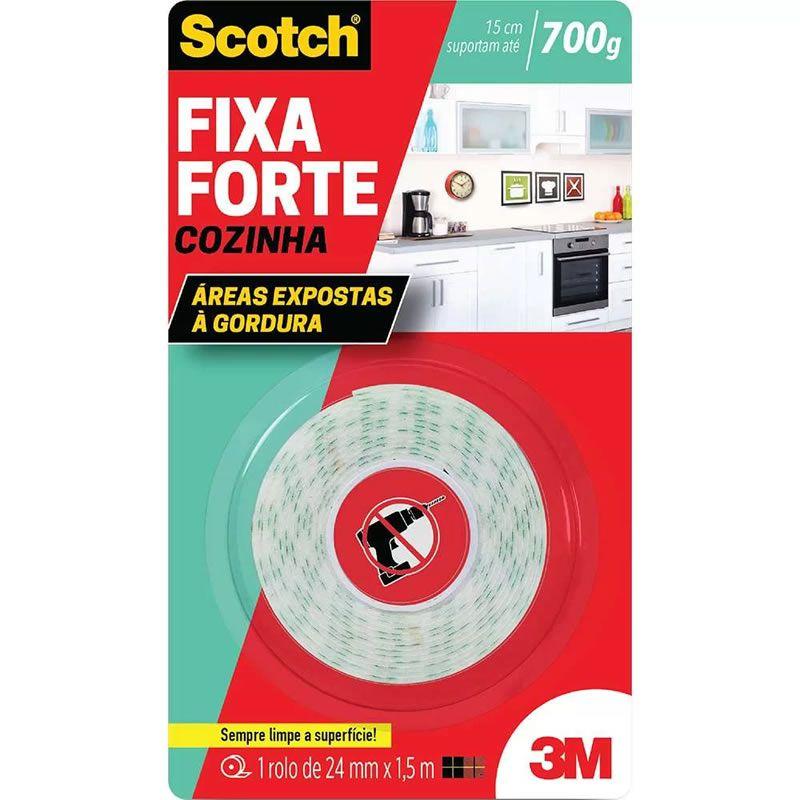 Fita Dupla Face 3M Scotch® Fixa Forte Cozinha - 24 mm x 1,5 m 26986