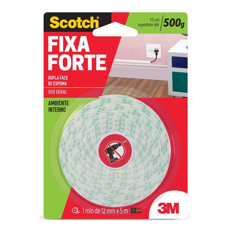 Fita Dupla Face 3M Scotch® Fixa Forte Espuma - Uso Interno - 12 mm x 5 m 09255