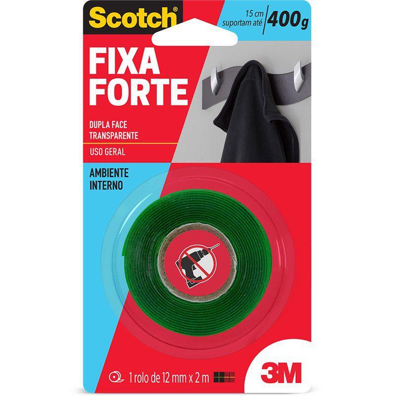 Fita Dupla Face 3M Scotch® Fixa Forte Transparente - Uso Interno - 12 mm x 2 m 21981
