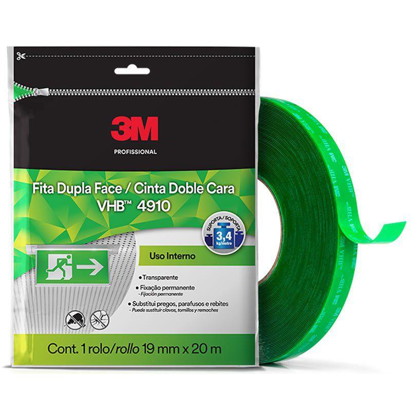 Fita 3M VHB Dupla-Face de Adesivo Transferível 4910  Transparente, 19 mm x 20 m, Embalagem Flow Pack 26034