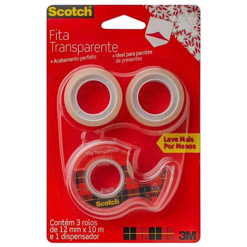 Fita Transparente 12mm X 10m Com 3 Rolos + Dispensador 3M Scotch 27197