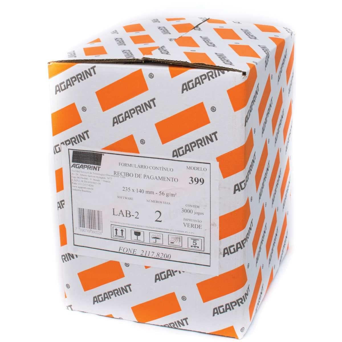 Formulário Agaprint 2 Vias LAB-02 Sem Bloqueio Caixa Com 3000 Jgs Carbono 2200399 27249