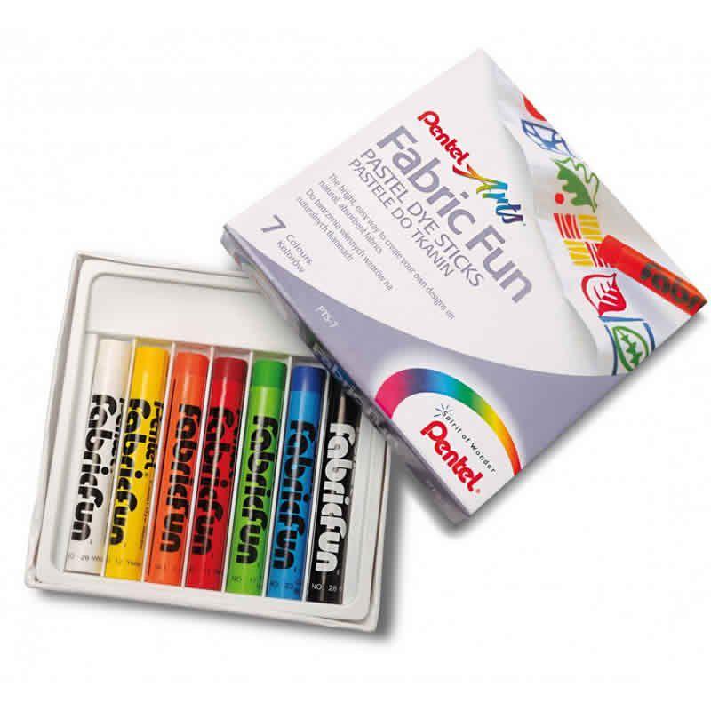 Giz Pastel Seco Pentel 7 Cores Frabric Fun PTS-07E 26654