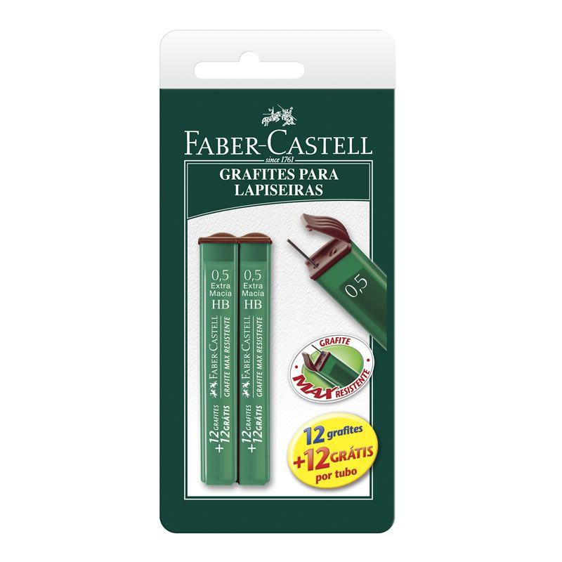 Grafite 0.5mm HB 2 Tubos com 24 Minas TMG05Hb Faber-Castell 15692
