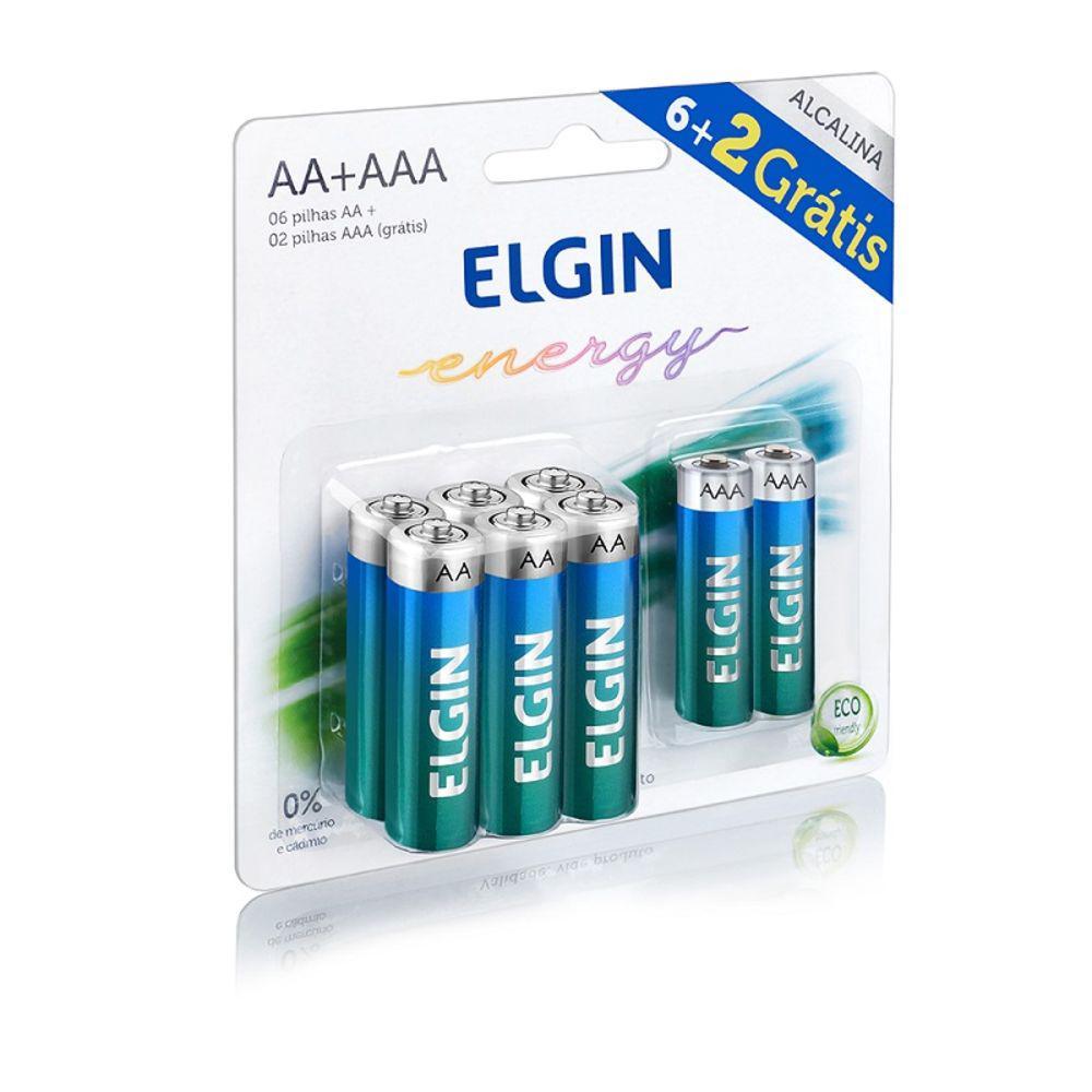 Kit Com 6 Pilhas Alcalinas AA e 2 Pilhas Alcalinas AAA 1.5V Elgin 82262 24471