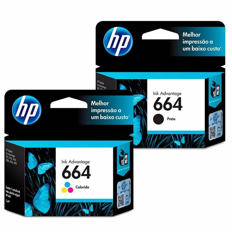 Kit Cartucho HP 664 Preto Original + Cartucho HP 664 Colorido Original