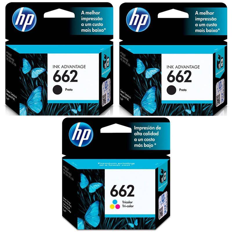 Kit Cartucho HP 662 Preto (2 Un.) + Cartucho HP 662 Colorido (1 Un.) Original