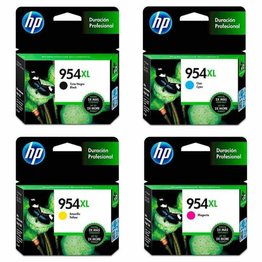 Kit Cartucho HP 954 XL Preto Original + 954 XL Coloridos de Alto Rendimento