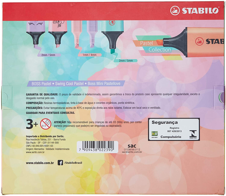 Kit Stabilo Boss Pastel+Mini Pastel Love+ Swing Cool Pastel 12 Un. 55.3403 29045