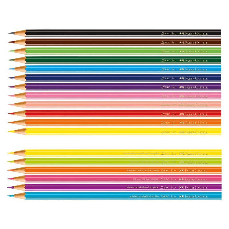 Lápis de Cor 12 Cores + 6 Cores Neon Faber-Castell 120112 25043