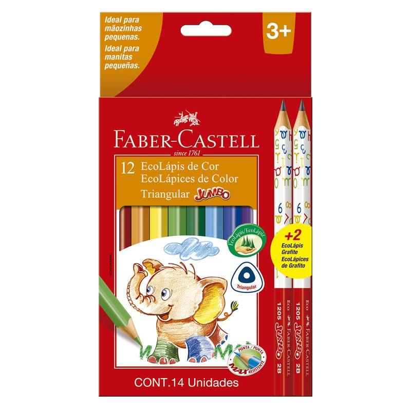 Lápis de Cor 12 Cores Jumbo Triangular Longo Faber-Castell 125012+2 25042