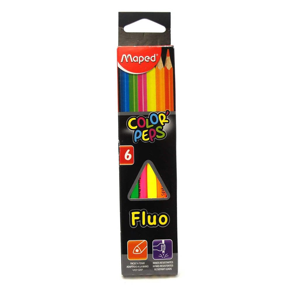 Lápis de Cor 6 Cores Neon Fluo 832003Zv Maped 18394