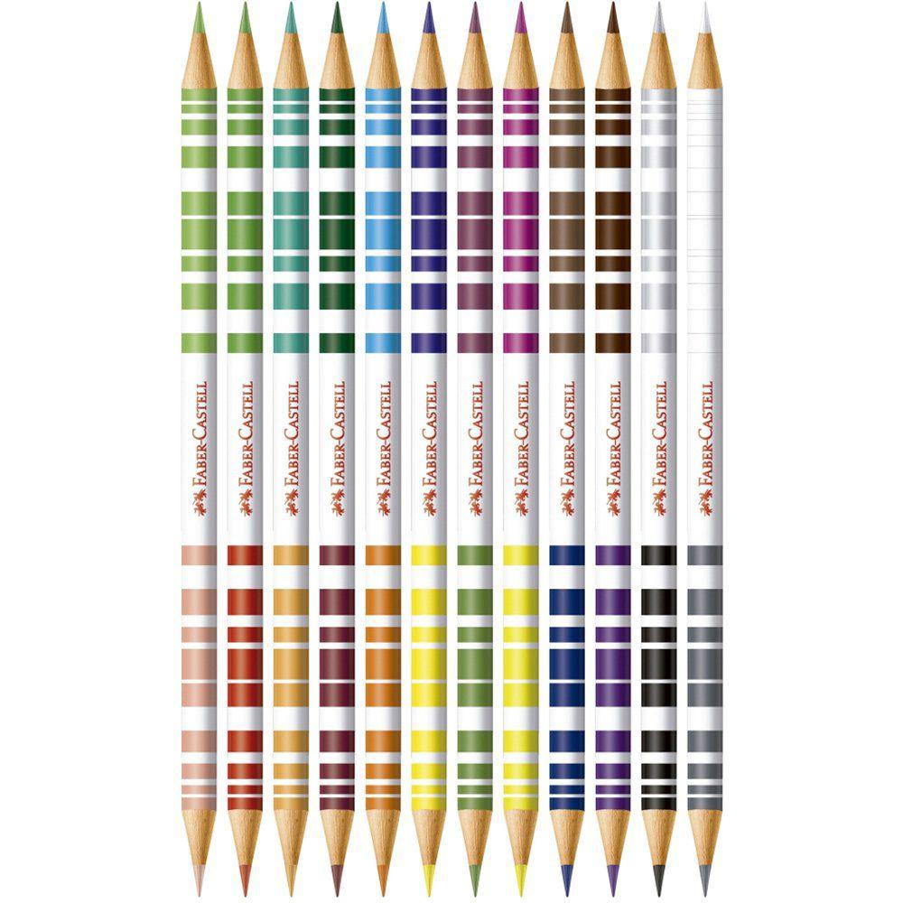 Lápis de Cor Bicolor 24 Cores Com 12 Lápis 120612/2 Faber-Castell 13332
