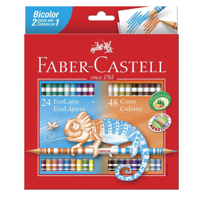 Lápis de Cor Bicolor 48 Cores com 24 Lápis 120624G Faber-Castell 03210