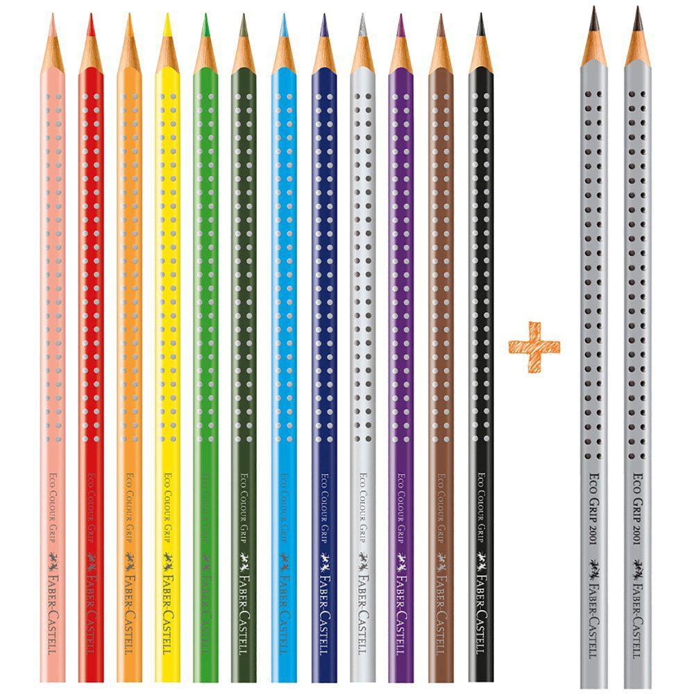 Lápis de Cor Faber-Castell 12 Cores Grip + 2 Lápis Preto 121012+2 25044
