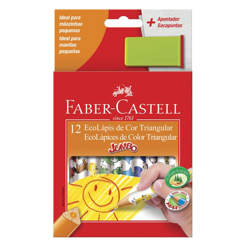 Lápis de Cor Faber-Castell 12 Cores Jumbo Triangular Estampado 123012AP 02644