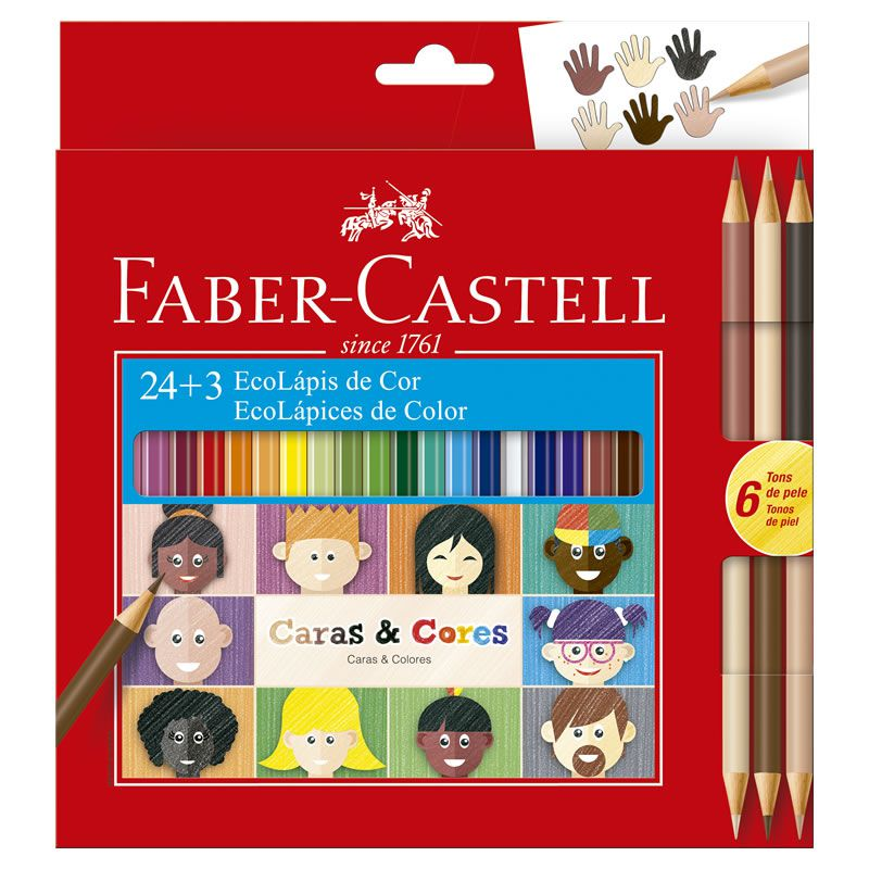 Lápis de Cor Faber-Castell 24 Cores Sextavado + 6 Tons de Pele 120124CC 26244