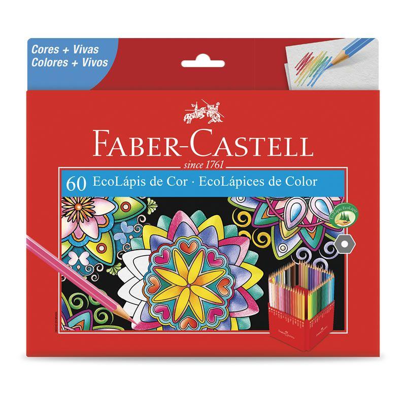 Lápis de Cor Faber-Castell 60 Cores Sextavado 120160G 22249