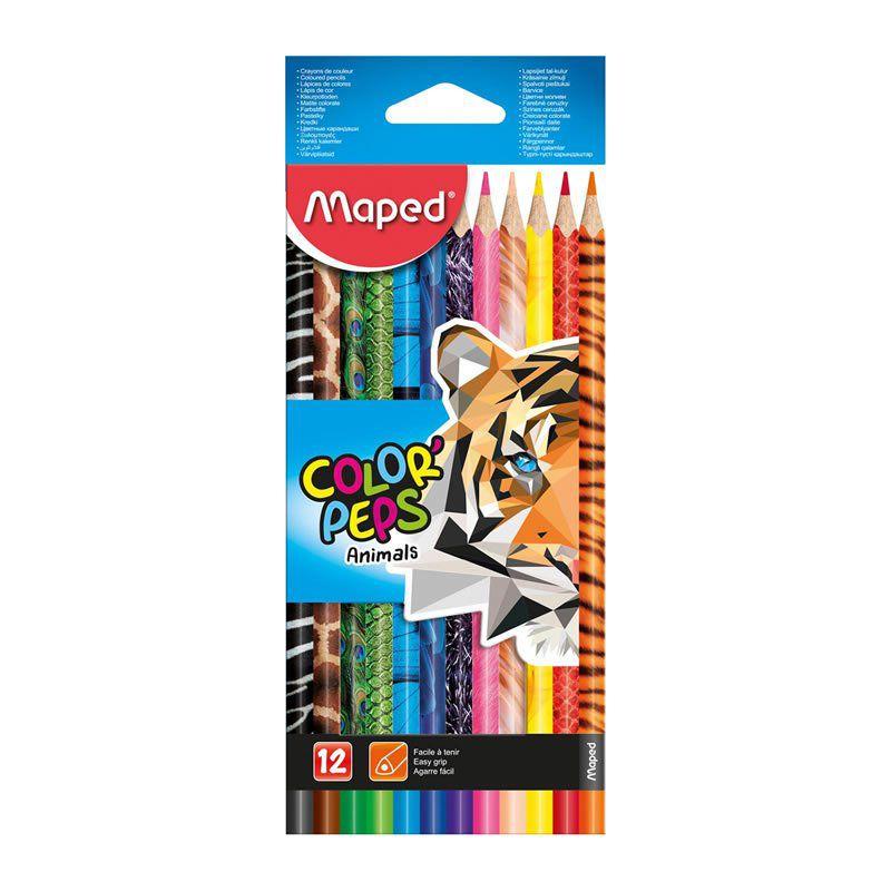 Lápis de Cor Maped 12 Cores Triangular Peps Animais 832212 26791