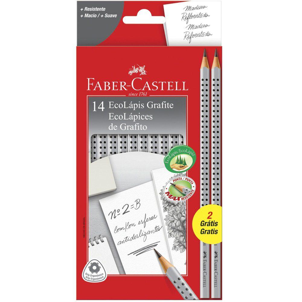 Lápis Grafite Faber-Castell Grip Cinza 14 Un. 2001B/F 28040