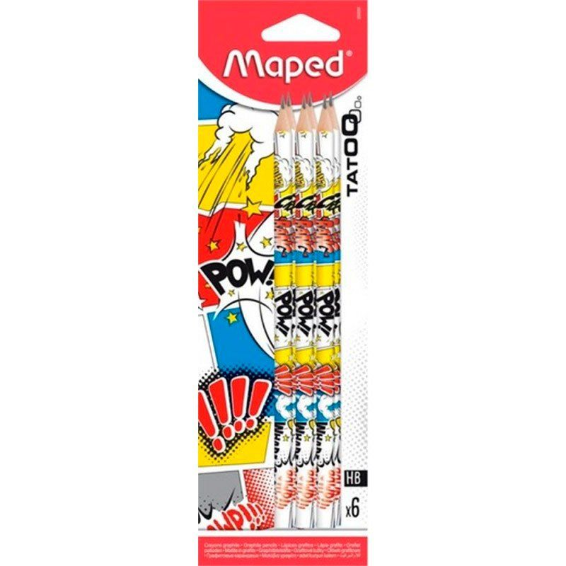 Lápis Grafite Maped HB Tatoo 6 Un 850056 25442