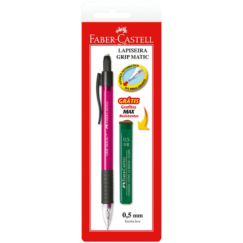 Lapiseira 0.5mm Grip Matic Super Metal Rosa + 12 Grafites SM05GMP Faber-Castell 01864