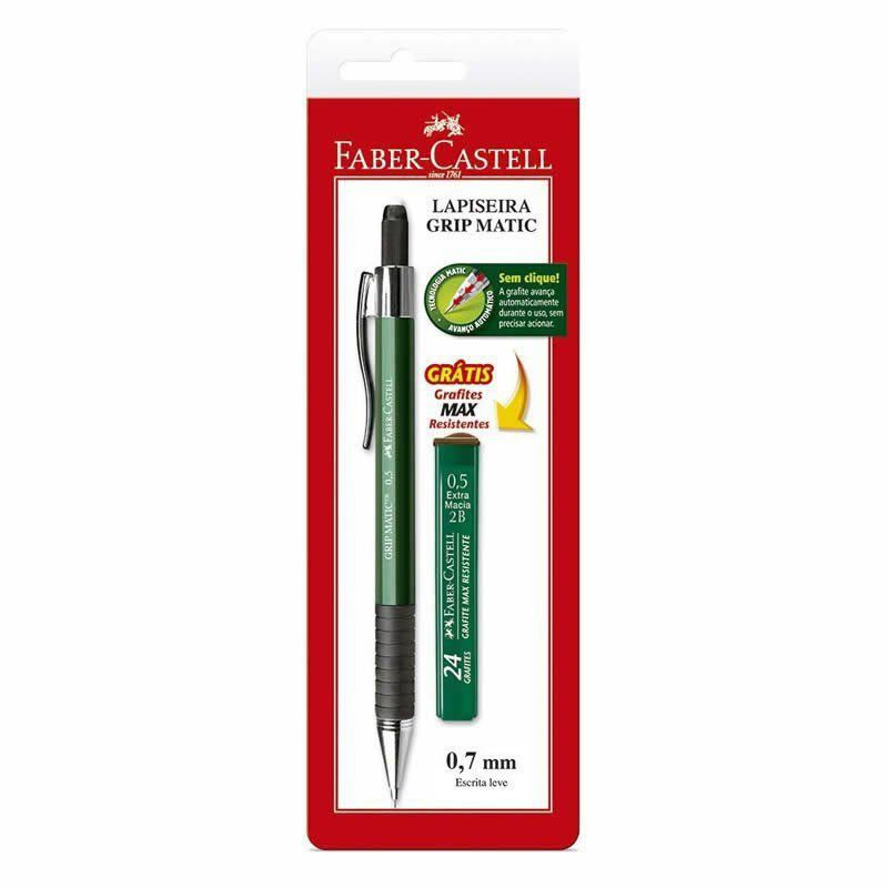 Lápiseira 0.7mm Grip Matic Super Metal Verde + 12 Grafites SM07GMS Faber-Castell 03233