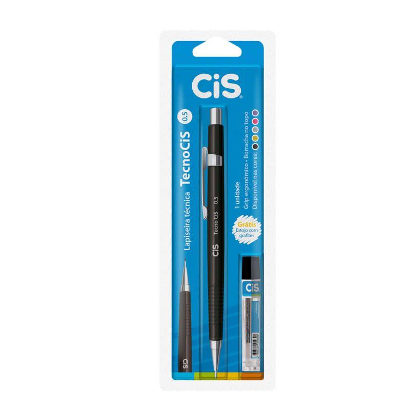 Lapiseira Tecnica 0.5 Tecnocis Preta + Grafite Gratis CiS 250.5002 23638