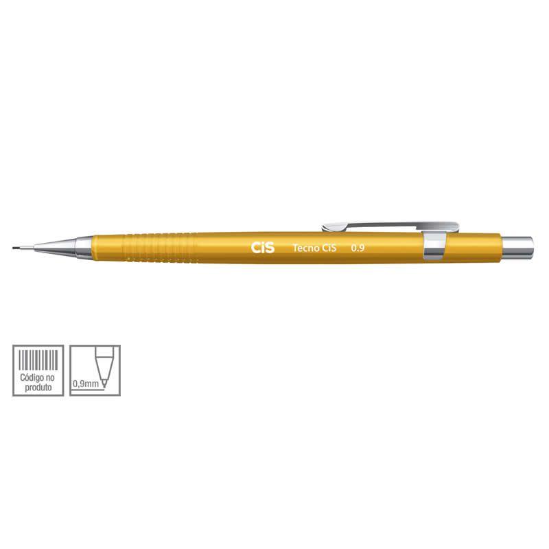 Lapiseira Tecnica 0.9 Tecnocis Amarela + Grafite Gratis CiS 250.5 23640