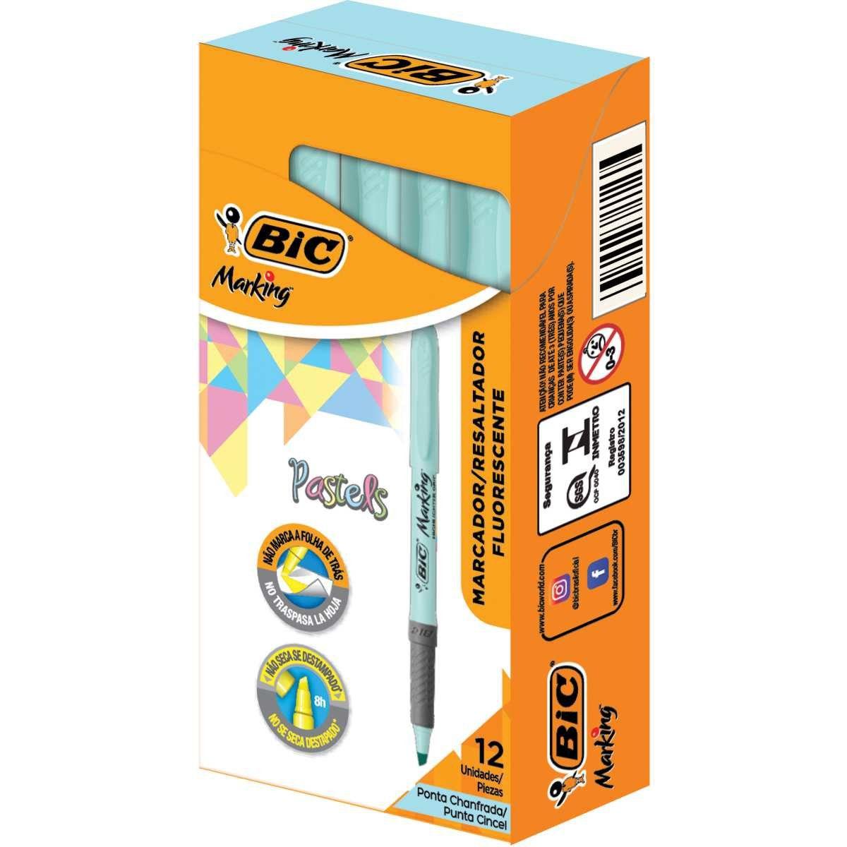Marcador de Texto BIC Marking Tons Pastel Azul 12 Un. 970914 28520