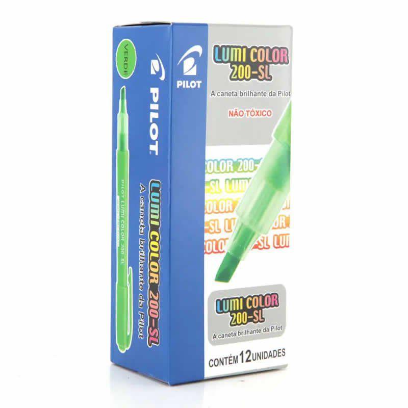 Marcador de Texto Lumi Color Verde Caixa Com 12 Un. 200-SL Pilot 14975
