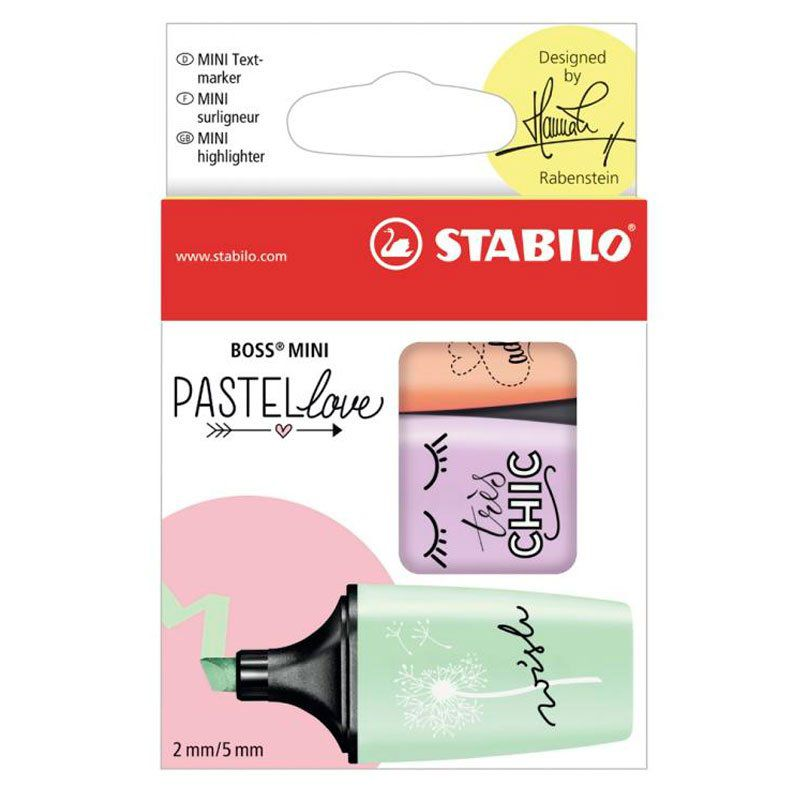 Marcador de Texto Stabilo Boss Pastel Mini Love Com 3 Cores 55.3000 26319