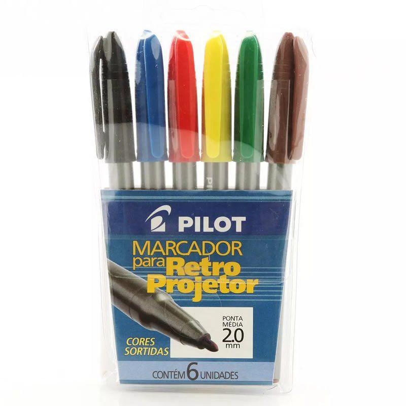 Marcador para Retroprojetor 2.0Mm Pilot Kit Com 6 Cores Azul / Preto / Vermelho / Amarelo / Verde / Marrom 1430006 06185
