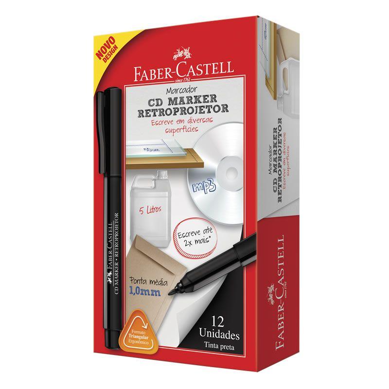 Marcador Para Retroprojetor Faber-Castell Preto 12 Un. CDRETRO/PRZF 11555