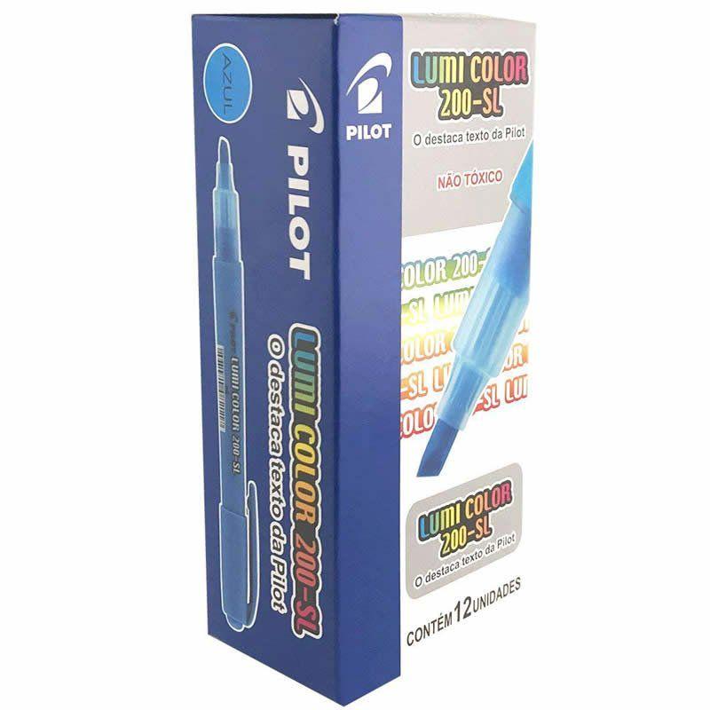 Marcador de Texto Lumi Color Azul Caixa Com 12 Un. 200-SL Pilot 14984