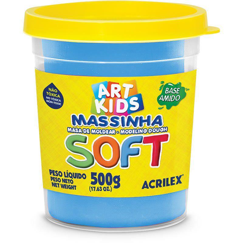 Massa de Modelar Acrilex Base Amido Soft Pote 500G Azul 109 07306 25079