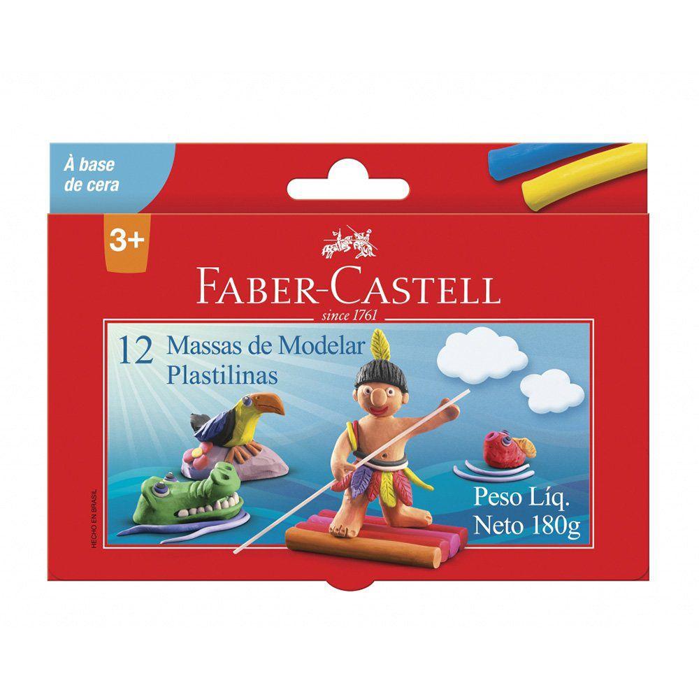 Massa Para Modelar Faber-Castell 12 Cores Base Cera 22.0312MM 02633