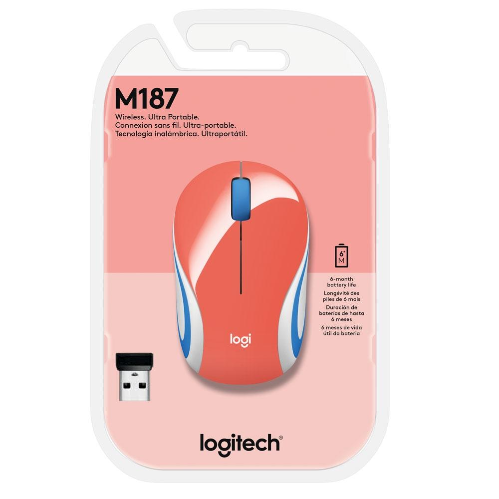 Mini Mouse Sem Fio M187 Coral Logitech 20807