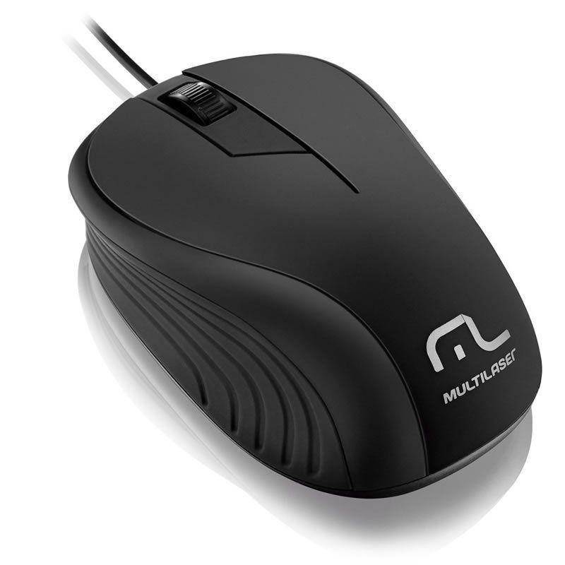Mouse Emborrchado Multilaser Preto Com Fio Usb MO222 22800