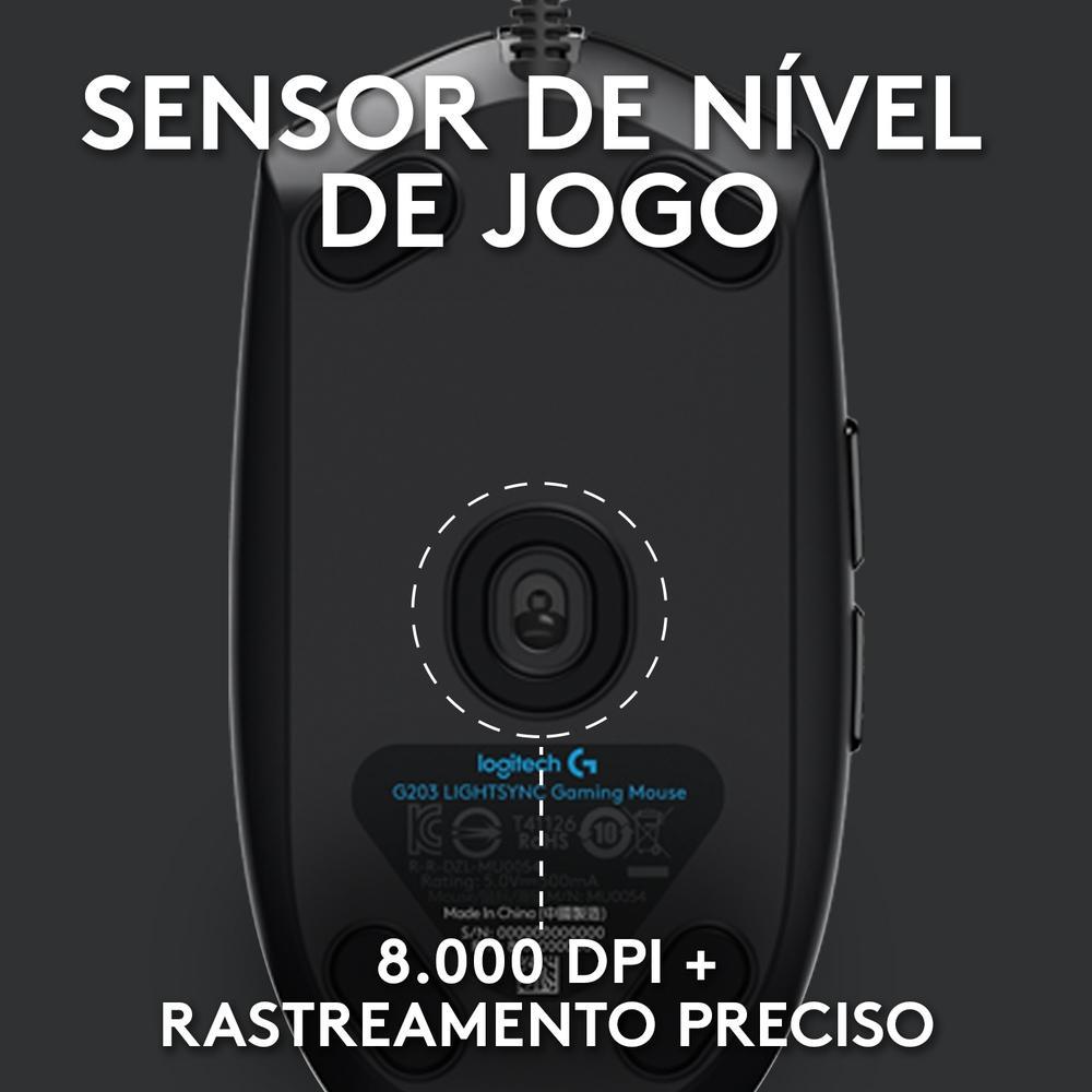 Mouse Gamer Logitech G203 USB RGB Ligthsync 8000 Dpi 6 Botões 910-005793 29978