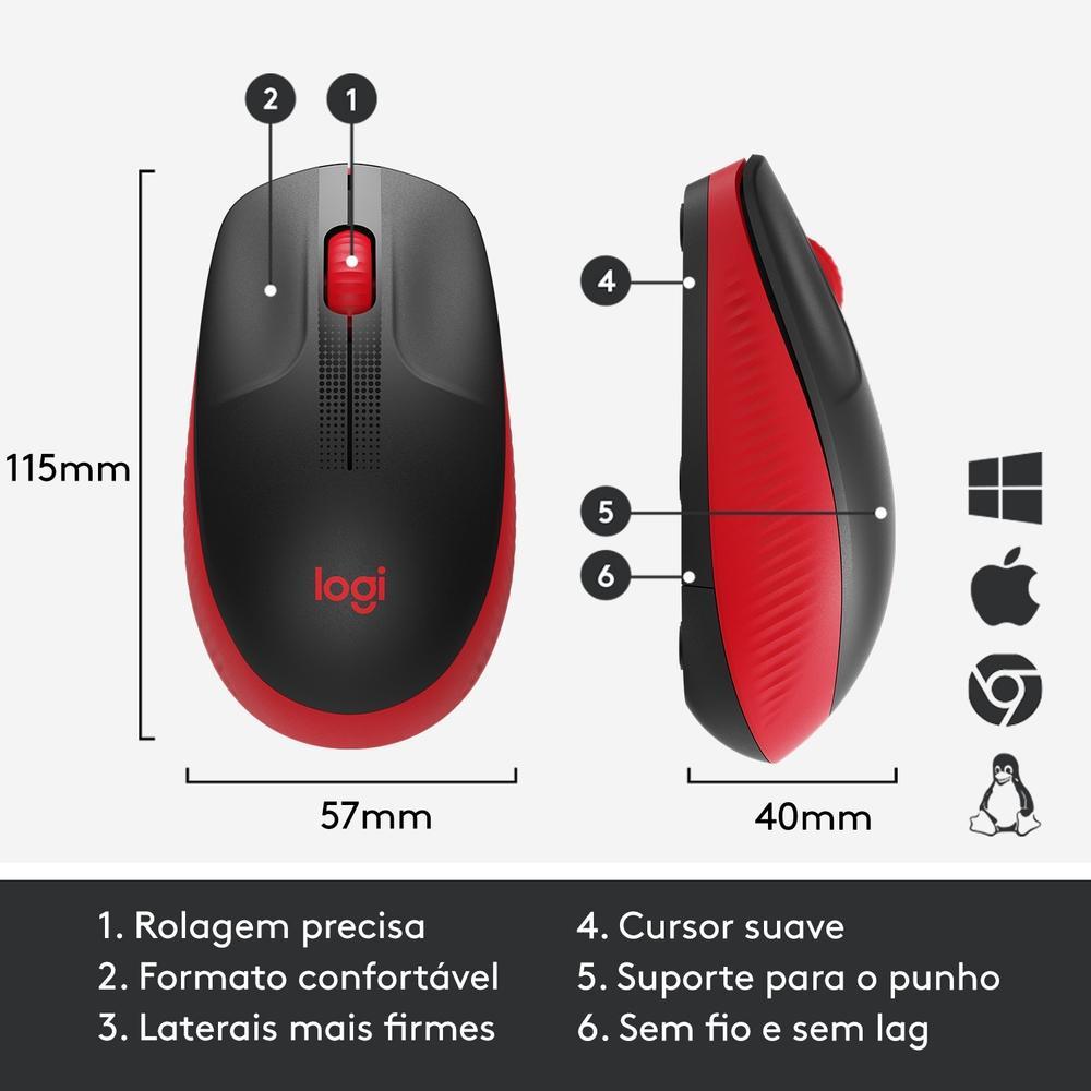 Mouse Logitech Wireless M190 Vermelho 29604