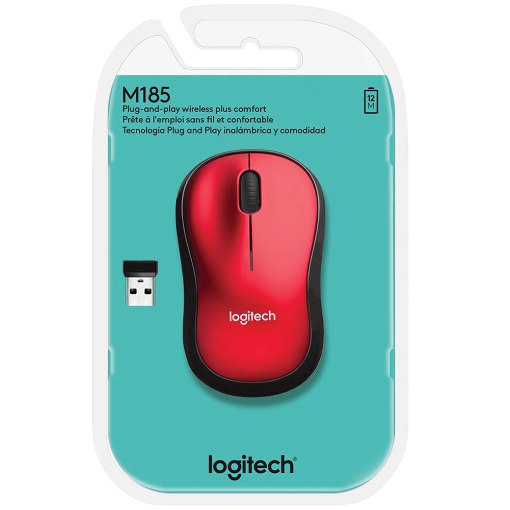 Mouse Mini Sem Fio RC Nano M185 Vermelho Logitech 22173
