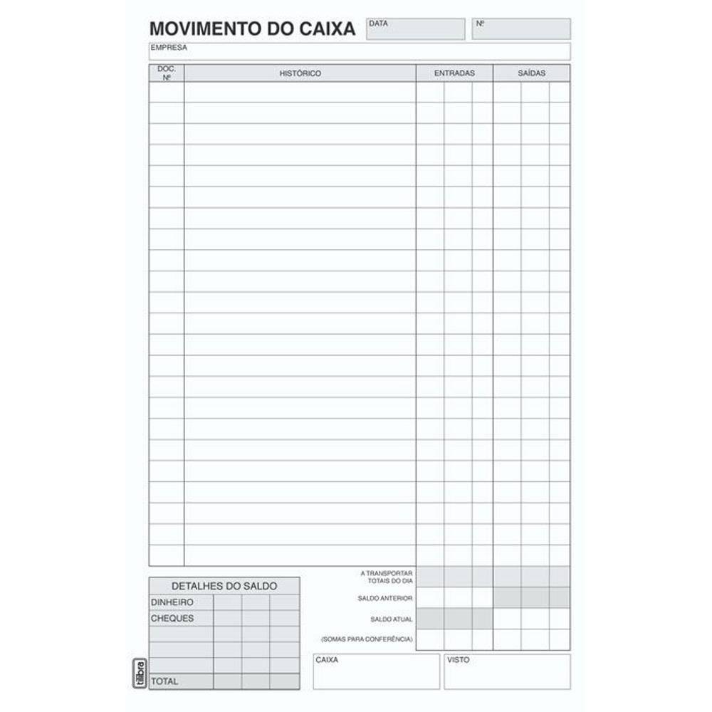 Movimento de Caixa 36 Linhas com 100 Fls 151521 Tilibra 02988